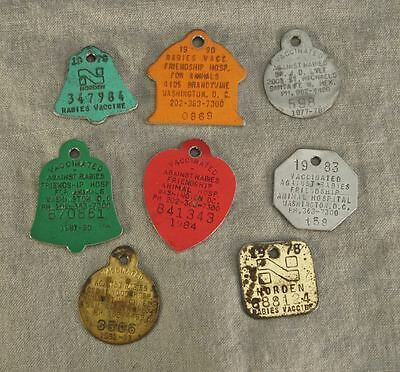 """Lot of 8 Rabies Vaccination Tags Santa Fe, NM  Wash., DC & Norden 70's & 80""""s"""