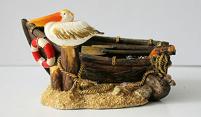 Nautical Pelican on old Row Boat Figurine Sea Shore Ocean Beach NEW