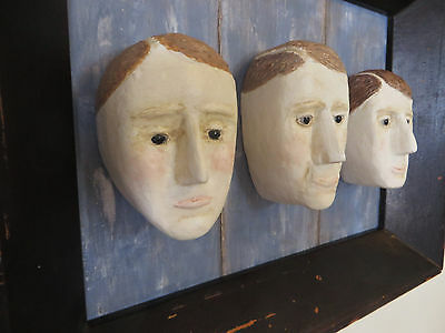 primitive naive outsider folk art carved wood head heads by circus bear usa