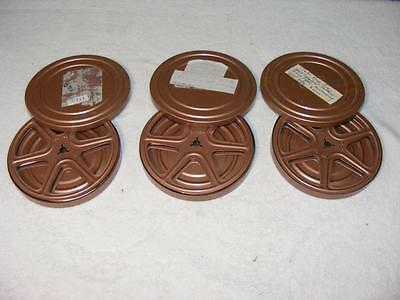 """8mm Film 3 Empty 5"""" Reels and Canisters"""