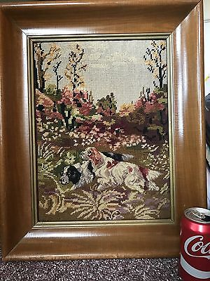 Large Vintage Framed Needlepoint Hunting Dogs Framed