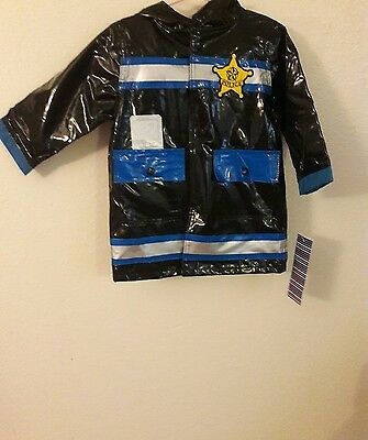 New Wippette  Baby Boys' Junior Police Raincoat Black 24 Months With Hood