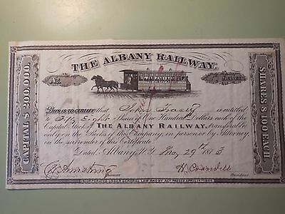 1873 The Albany Railway Co - Horse Trolley Stock Certificate