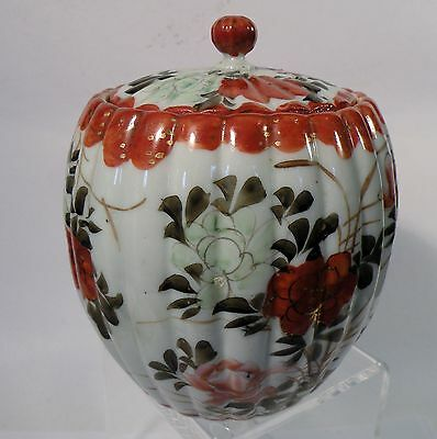 3K305 ANTIQUE JAPANESE MEIJI KUTANI WARE PORCELAIN TEA JAR, hand painted