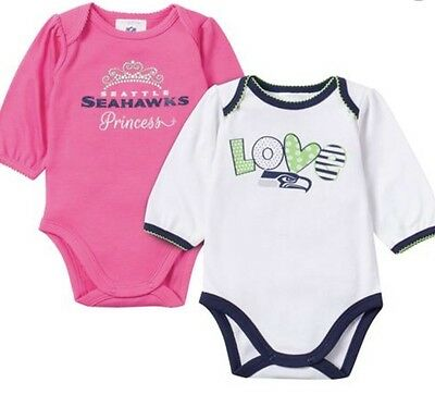 NFL Baby Seahawks Girl Long Sleeve One Piece Romper 2-pack (3-6 Months)