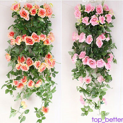 Artificial Silk ROSE Flower Garland Vine Hanging Decor For Home Wedding Party AU