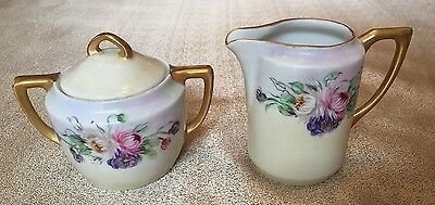 Beautiful Weimar Germany   sugar with lid  and creamer antique vintage