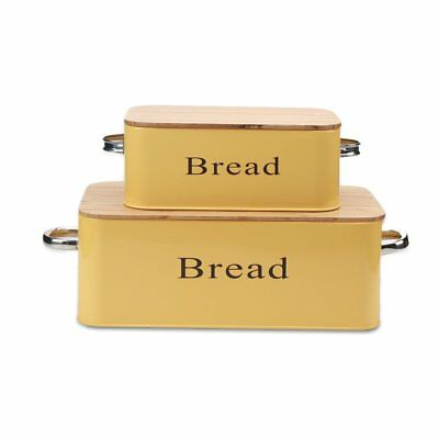 X559Yellow Vintage Bread Box Metal Bin Set of 2 With Bamboo Lid  Food Container