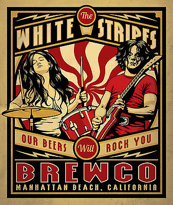 White Stripes Rock Vintage Print 24in x 36in HD Poster
