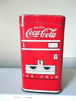 "Nice! Vintage 1950's COCA COLA 4"" MACHINE COOLER METAL BANK TIN"