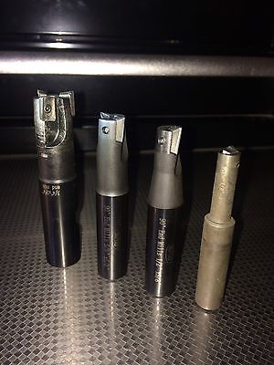 """SHARS 90° Indexable Endmills Lot Of 4 (3/4"""",5/8"""",1/2"""",3/8"""")"""