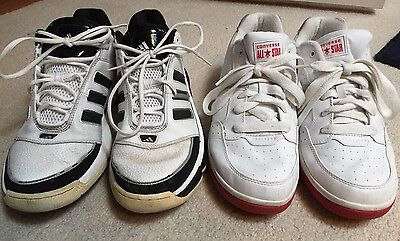 (2 Pairs) Mens Shoes 11.5 12 Lot Adidas Converse All Star White Red Black *used*