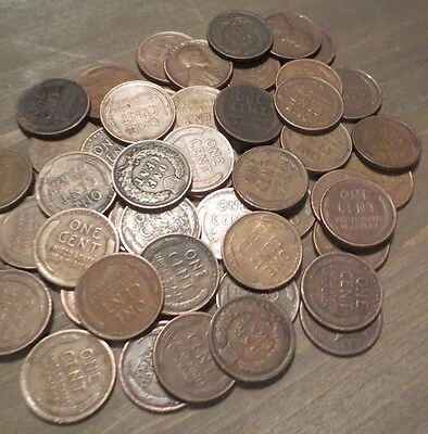 Huge lot of 48 INDIAN HEAD PENNY & Wheat Cent Coins