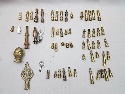LOT OF 55+ ANTIQUE/VINTAGE LAMP FINIALS SOLID BRASS CAST IRON & Extensions