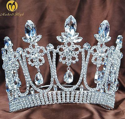 Flower Large Tiara Brides Crown Clear Crystal Women Headband Pageant Prom Party
