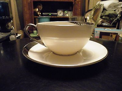 Pickard CRESCENT Platinum Ivory Cup and Saucer MINT - Multiples Available