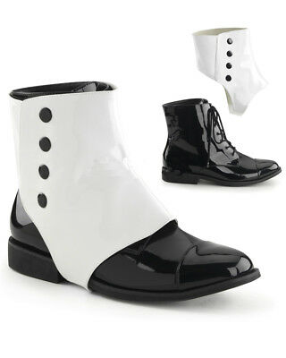 Black And White Detachable Spats Mens Shoes