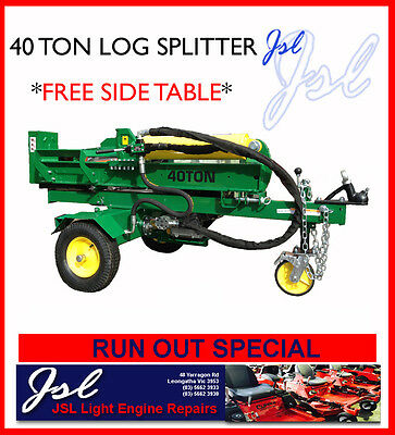 RUNOUT 40 Ton Log & Wood Splitter, 13hp Engine, Vert-Hor Operation, Side Table!