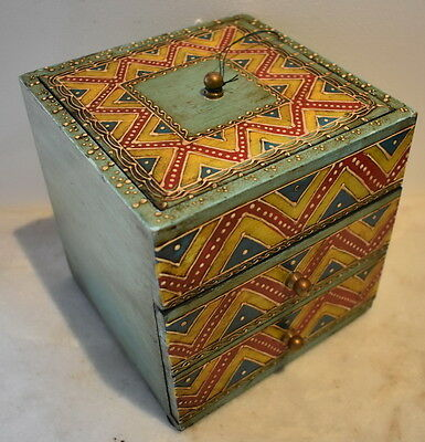 Moroccan Style Cube Jewellery  Box with Embossed Paint Multi-drawer 15x15x15cm