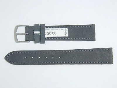 "FLUCO (Germany) Genuine Suede Leather Watch Band Strap 18 mm Grey ""Velour"""