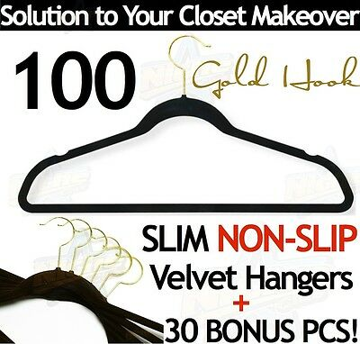 100 Black SPACE SAVING VELVET COAT HANGERS CLOSET THIN Ultra Slim Anti Non Slip