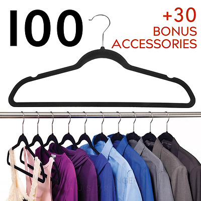 100 NON SLIP Black Space Saving Velvet Coat Hangers Ultra Thin Closet Clothes