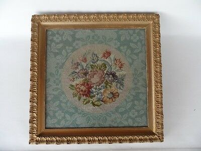 Antique 1920's Hand Made Floral Tapestry In Gold Frame