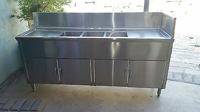 (3) Three Compartment Commercial Stainless Steel Sink with  cabinets
