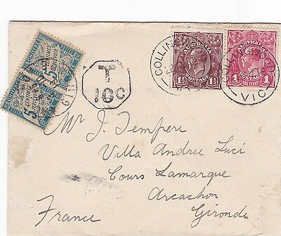 LM125)Australia 1919 small cover to France bearing 1d Red & 1.5d Brown KGV heads
