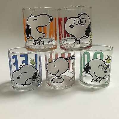 Peanuts Snoopy 4oz Glasses Set Of 5 Smile Sleep What Laugh Look