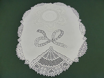 2 Antique Snow White Traycoth & Doily~Irish Linen~Hand Crochet Lace~Damask