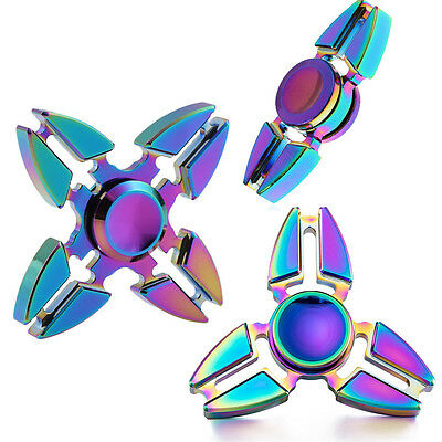 New Rainbow Fidget Hand Finger Spinner Metal EDC Stresses Relief Focus Desk Toy