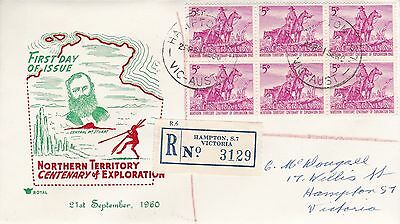 BD496) Australia 1960 Nth'n Terr. Centenary of Exploration red and green cachet