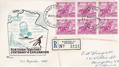 BD498) Australia 1960 Nth'n Terr. Centenary of Exploration brown and blue cachet