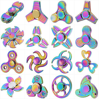 Rainbow Fidget Spinner Hand Finger Spinner Focus Bearing Toys For Kids Adults UK