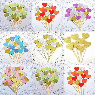 10/50Pcs Heart Cake Cupcake Toppers Decor for Birthday Wedding Party Baby Shower