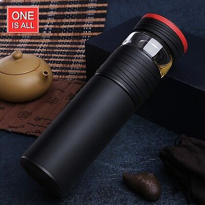 ONEISALL  Stainless Steel Liner Thermos Flask with Glass Compartment Cup