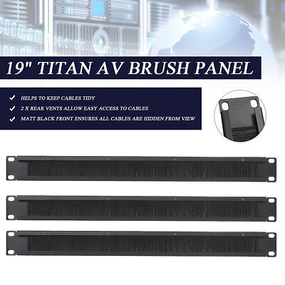 "Titan AV Brush Panel 19"" 1U Server Cabinet Cable Management Tidy Bar Slot Rack"