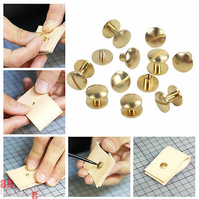 20X Brass Solid Rivets Belt Screw Stud Head Leather Craft Chicago Nail Wallet