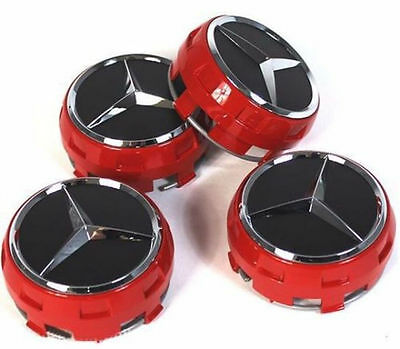 SET OF 4 PCS 75mm / 3 INCH AMG RED WHEEL BADGE CENTER CAPS FOR AMG C E CLS S