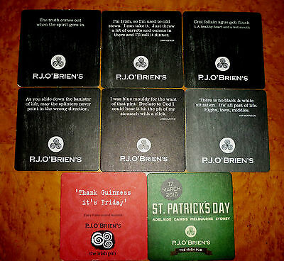 Collectable beer coasters -  Set of 8 P.J O'Briens Pub beer coasters