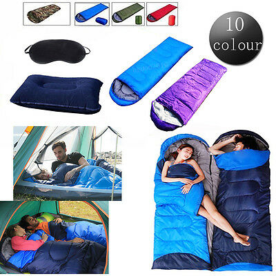 3 Season Adult Waterproof Envelope Outdoor Sleeping Bag Camping Hiking Case Zip