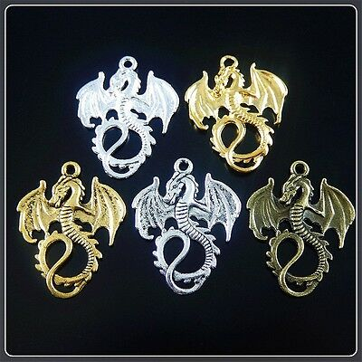 24 pcs Vintage Style Flying Dragon Charms Necklace Pendant Jewelry Crafts