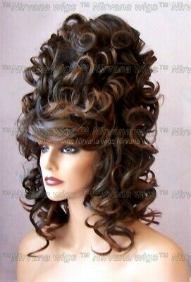 High Cone Beehive Curls Drag Shoulder Length Unisex You Choose Colour Casha Wig
