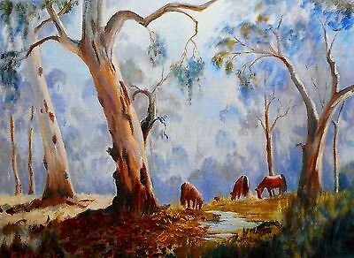 """VINTAGE AUSTRALIAN OIL ON CANVAS  """"HORSE COUNTRY""""  BY BARBARA McKENZIE"""
