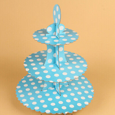 White Dots Cupcake Party Cupcake Stand 1 3 Tier Cake Stand Wipe Clean Reusable