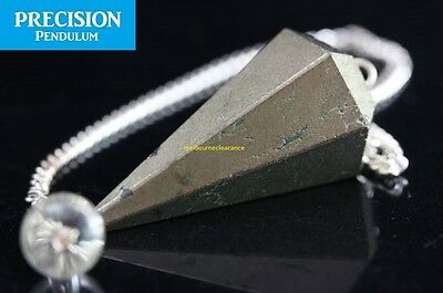 Solid Pyrite Fool's Gold 12-Faceted Precision Pendulum w/ Chain Crystal Gemstone