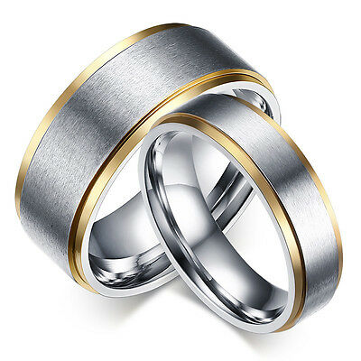 316L Stainless Steel Silver Brushed Gold Plating Bands Men Women's Couple Rings
