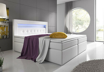 boxspringbett venedig lift 160x200 in weiss liftfunktion led eur 799 00 picclick de. Black Bedroom Furniture Sets. Home Design Ideas