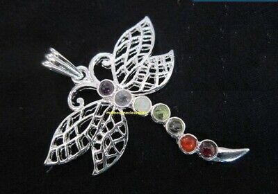 Silver Chakra Dragonfly Gemstone Metal Precision Pendulum Pendant Necklace